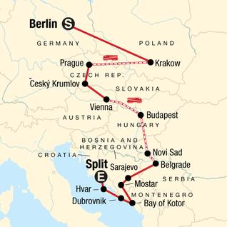 Map of Eastern Europe, Croatia & the Balkans