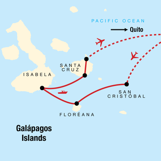 Map of Upgraded Land Galapagos with Quito