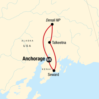 Map of Alaska Kenai & Denali Adventure