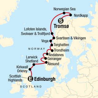 Map of Cruise the Norwegian Fjords with Scottish Highlands