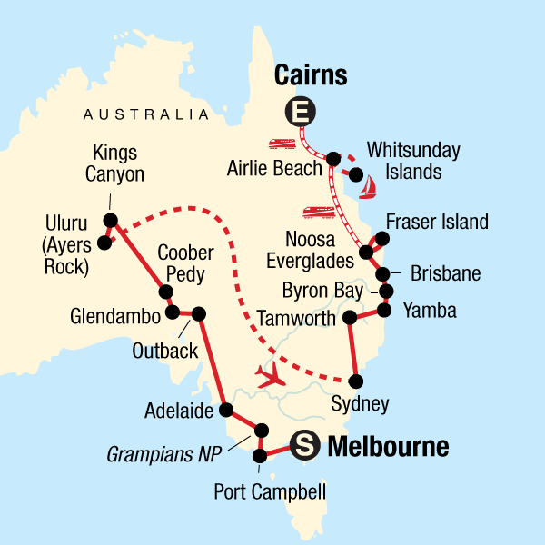 Australia Map Byron Bay.Complete Australia In Australia Australia Pacific G Adventures