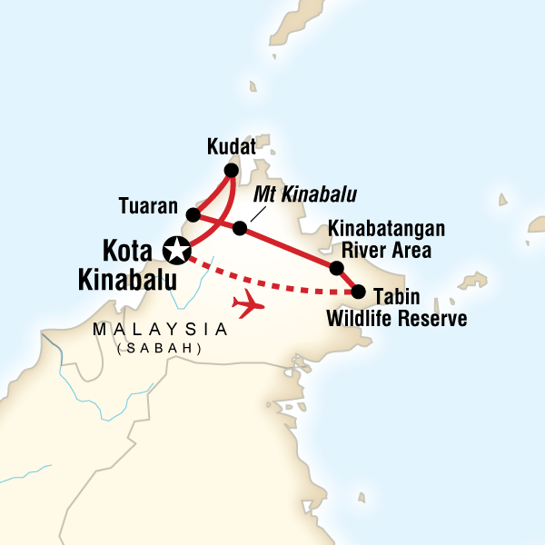Map of the route for Wonders of Borneo
