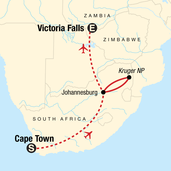 Victoria Falls Map Africa TailorMade Southern Africa: Cape Town, Safaris & Victoria Falls in