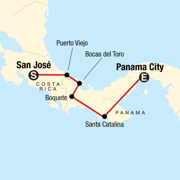 Map of the route for Panama Experience: Cloud Forests & Canals