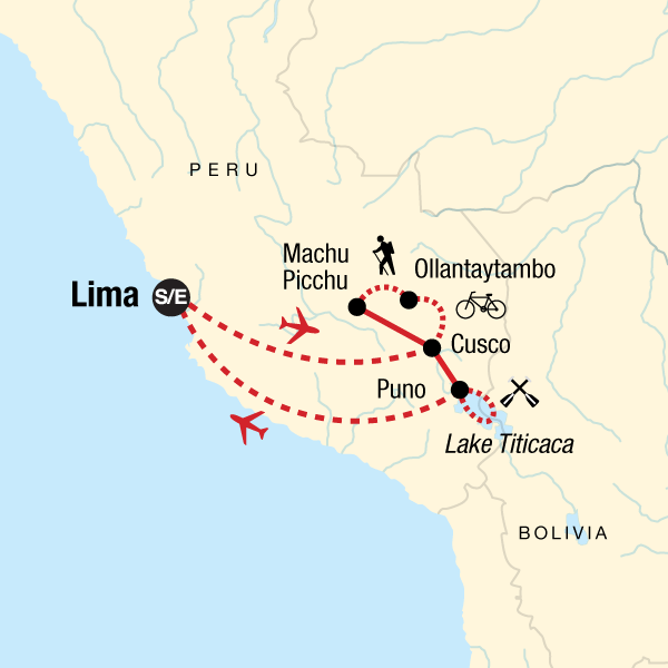 Map of the route for Peru Multisport