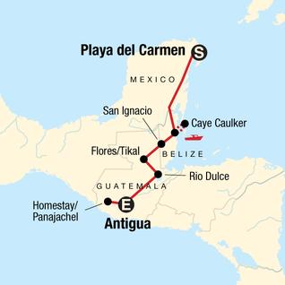 Map of Mayan Sun Southbound: Boat Rides & Ruins