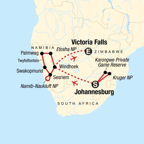 Krüger-Nationalpark, Victoriafälle & Namibia in Namibia, Afrika - G ...