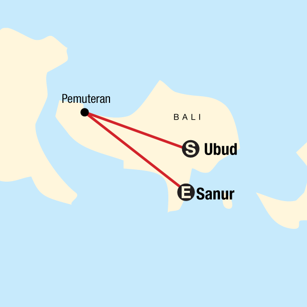 Map of the route for Wellness Bali