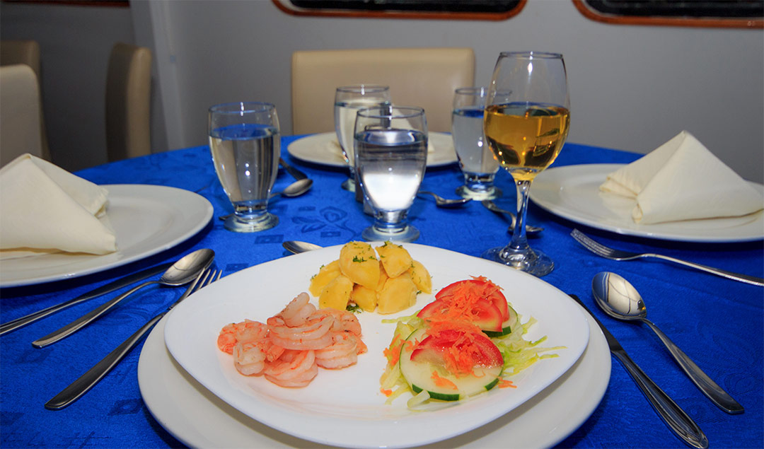 Meal aboard the Yolita