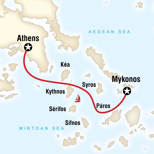 karta mykonos Görögország STATravel.hu karta mykonos