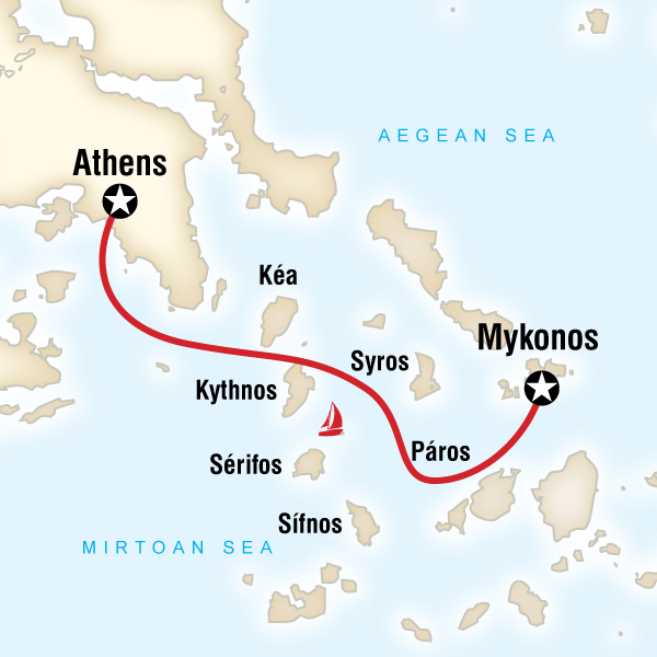 Map of Sailing Greece - Mykonos to Athens