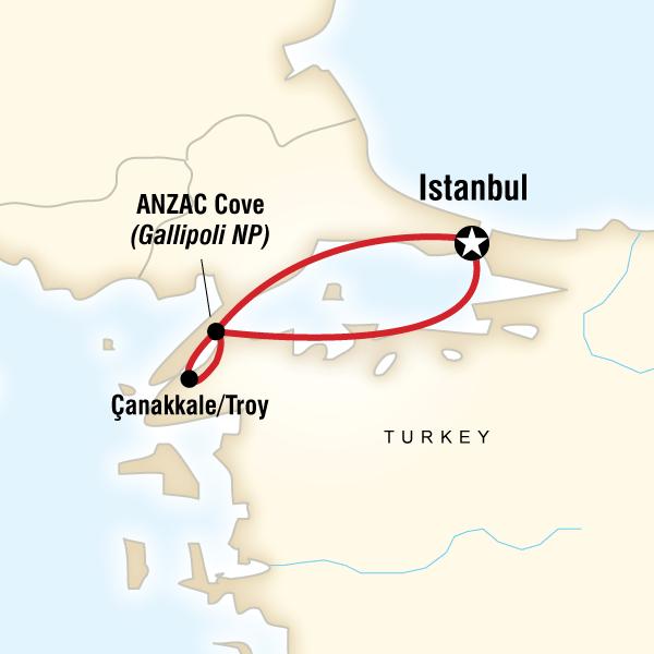 Map of ANZAC Day Memorial Tour