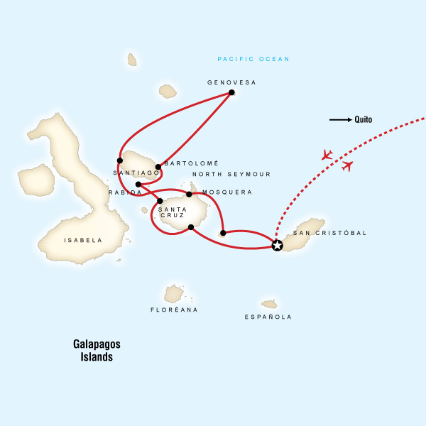 Map of Galápagos — North and Central Islands aboard the Queen of Galápagos