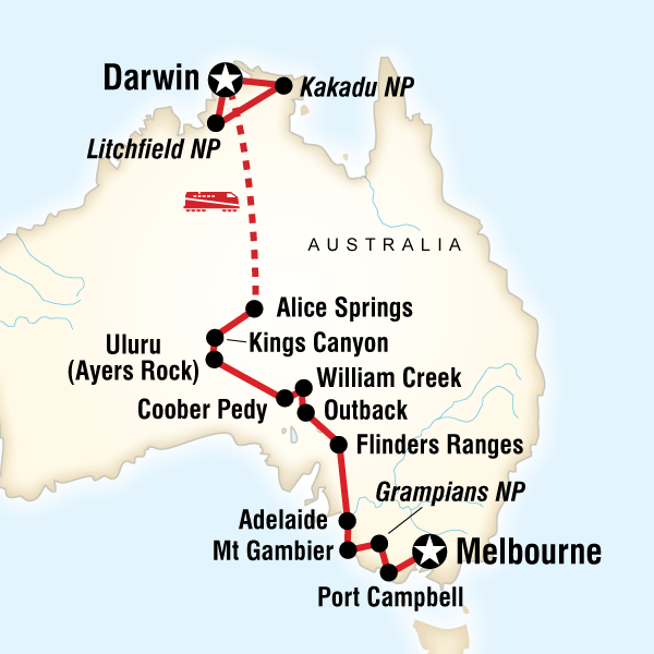 Australia South to North - Melbourne to Darwin