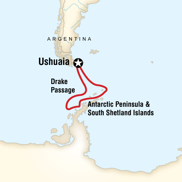 Itinerary map of Antarctica Classic In Depth