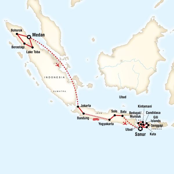 Map of Indonesia Encompassed