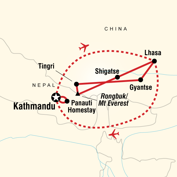 Map of High Road to Tibet