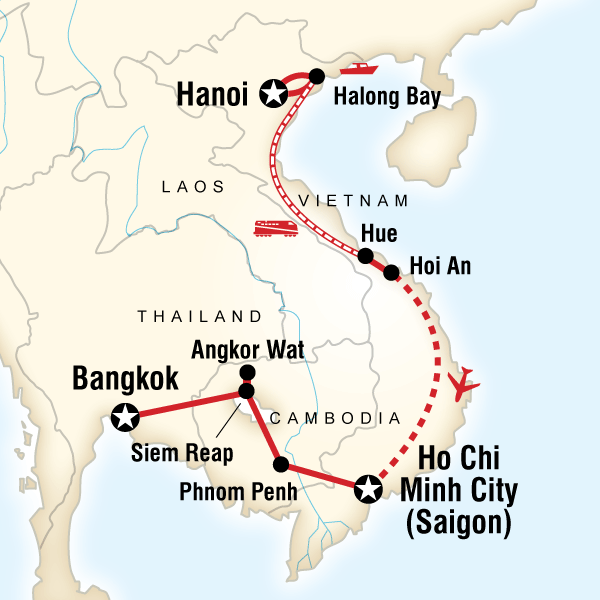 Itinerary map of Essential Vietnam & Cambodia