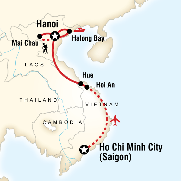 Map of Vietnam Hike, Bike & Kayak