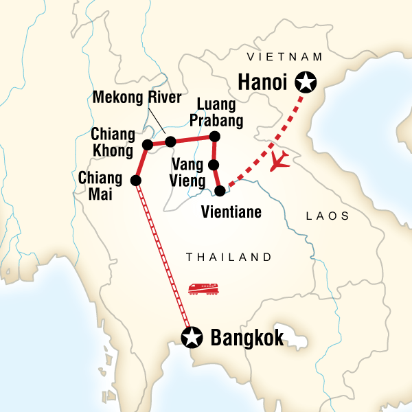 Map of Laos & Thailand on a Shoestring