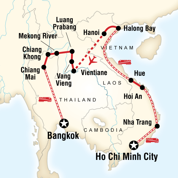 Itinerary map of Vietnam, Laos & Thailand on a Shoestring