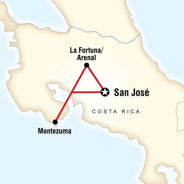 Map of Costa Rica on a Shoestring