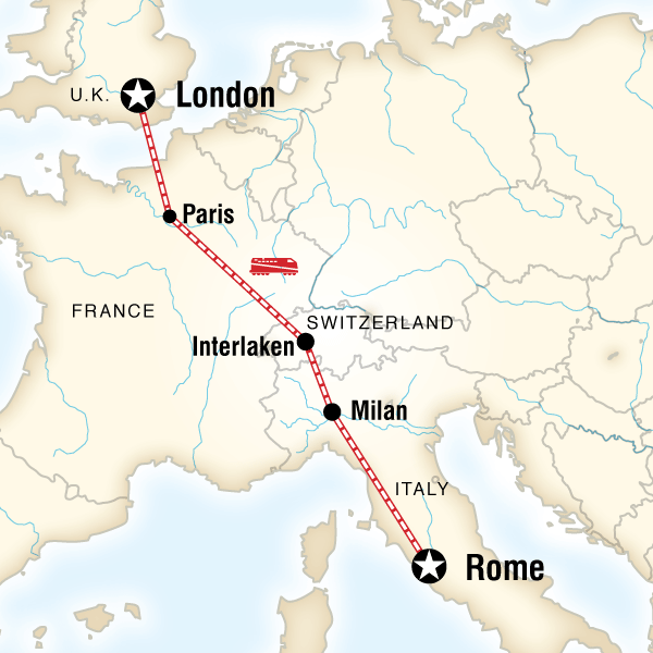 Map of London to Rome Adventure