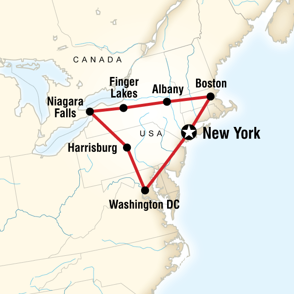 Map Of Tour East Coast Usa