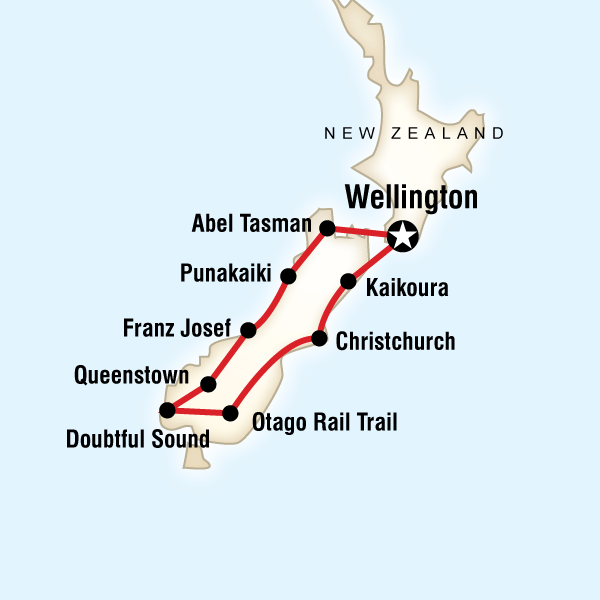 Map of New Zealand–South Island Encompassed