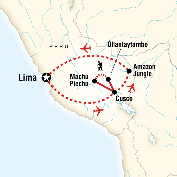 Itinerary map of Amazon To The Andes