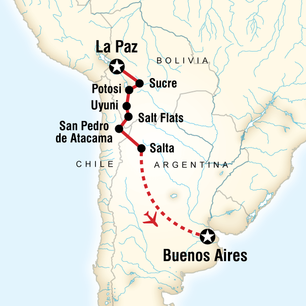 Map of La Paz to Buenos Aires Adventure
