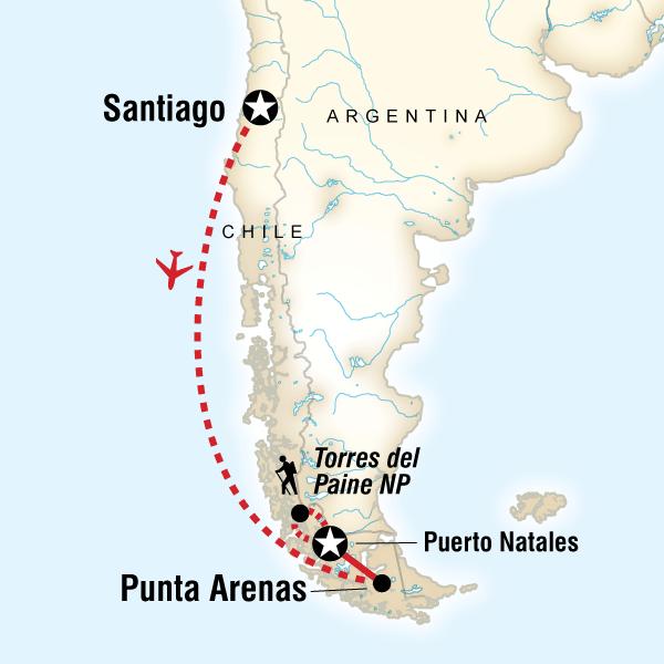 Map of Trekking the Full Torres del Paine Circuit