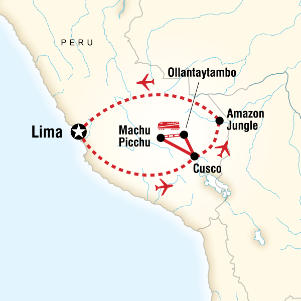 Itinerary map of The Inca Journey
