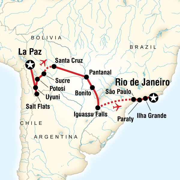 Itinerary map of Andes To The Atlantic Experience
