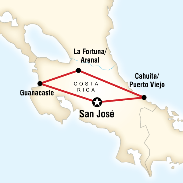 Map of Experience Costa Rica Independent Adventure
