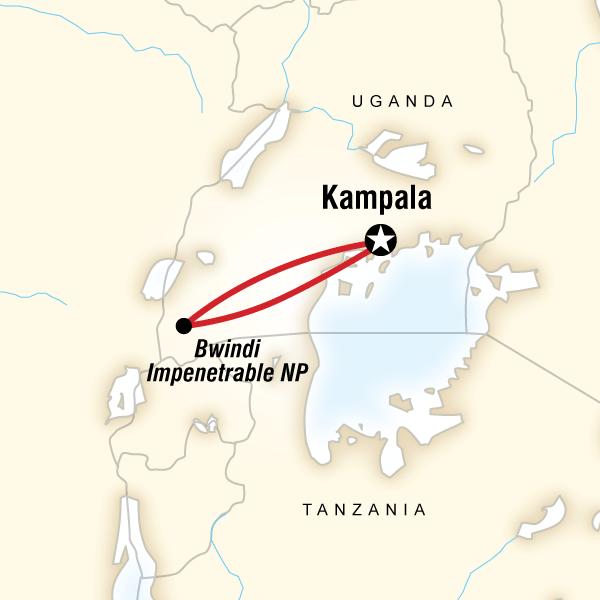 Map of Gorilla Trek Independent Adventure