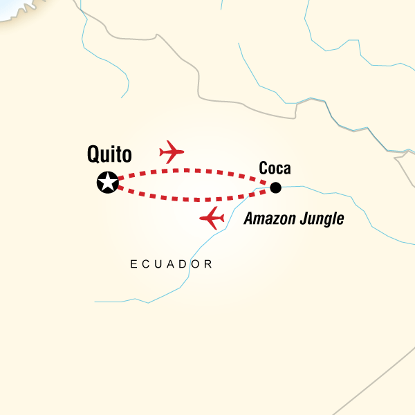 Map of La Selva Lodge - 5 Day Independent Adventure