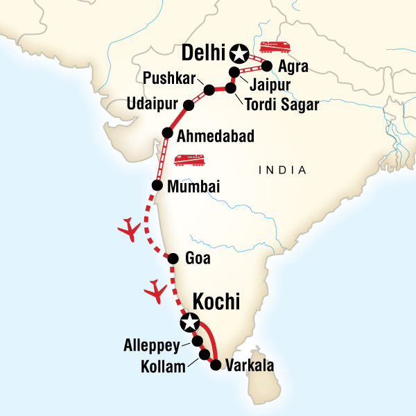 Map of Discover India–Delhi to Kochi