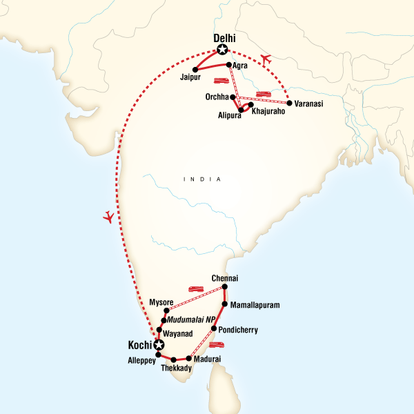 Itinerary map of India Encompassed
