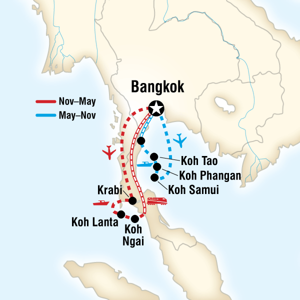 Map of Thailand Island Hopping