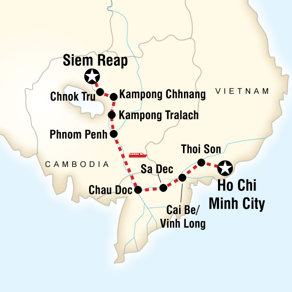Itinerary map of Mekong River Encompassed – Ho Chi Minh City to Siem Reap