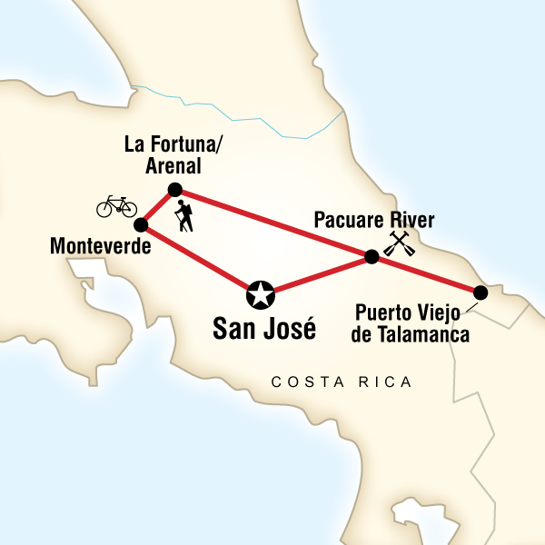 Map of Costa Rica Active Adventure