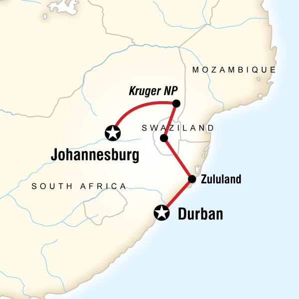 Map of Kruger & Swazi Overland