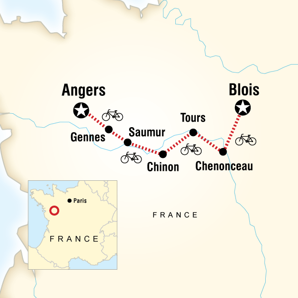 Map of Loire Valley Cycling