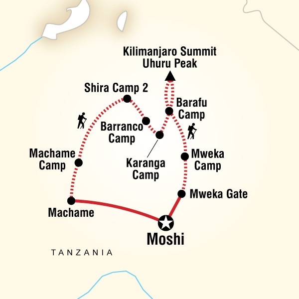 Map of Mt Kilimanjaro Trek - Machame Route (9 Days)