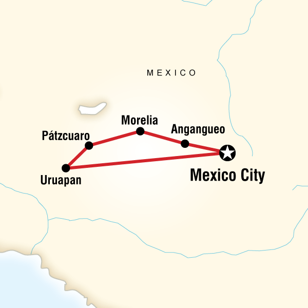 Map of Mexico Monarch Butterfly Trail