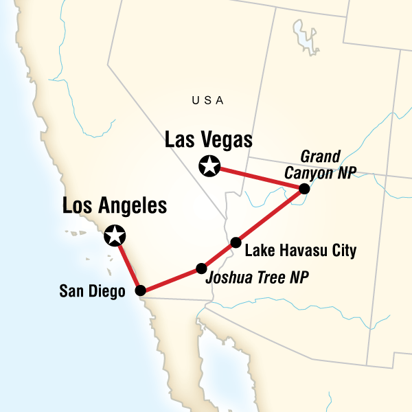 San Diego Grand Canyon Vegas In Western USA Lonely Planet - Las vegas grand canyon map