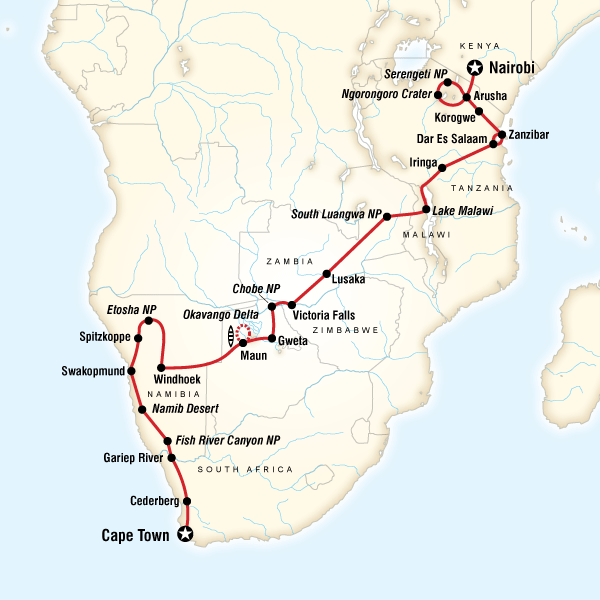 Map of Cape Town to the Serengeti