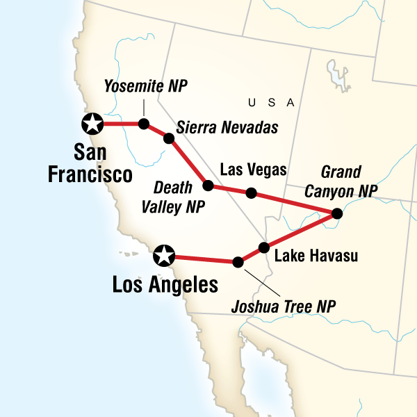 Los Angeles To San Francisco Express In Los Angeles USA Lonely - Las vegas grand canyon map
