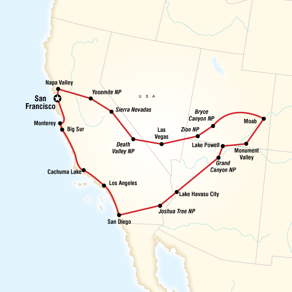 Map Of Camping America S West
